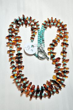 Amber and turquoise necklace by Momma Rocks/Thelma Wilson