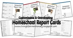 Lots of free homeschool planner ideas and a link to Free homeschool report cards