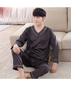 Men's Pajama Sets Mens Geometric Patterns Pajama Sets Yarn Weave Cotton Men Pajamas Comfy Sleepwear Men Plus Size M-4xl Soft Nightgown Pyjamas