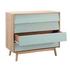 Wooden vintage chest of drawers, blue W 90cm Fjord | Maisons du Monde