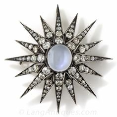 $9,750.00. Large Victorian Diamond and Moonstone Pendant and Brooch