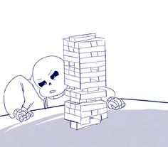 """Day 2: Games "" Happy Cheer Up the Skeleton Week! I didn't do anything yesterday so I made a quick gif for today :D I feel like Sans would be amazing at jenga. Based off of this vine."