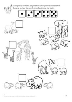 The ZOO: counts the number of pups of each animal mom. Preschool Zoo Theme, Color Worksheets For Preschool, Forest Animals, Zoo Animals, Le Zoo, In The Zoo, Free Frames, Kids Learning Activities, Camping Theme
