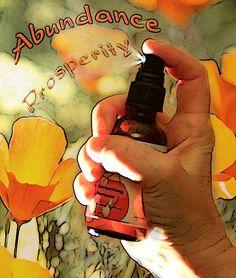 Abundance & Prosperity Spray, Room and Body-- Organic Flower Essence Aromatherapy, Bach Remedies and Essential Oil, 1 oz. $18.00, via Etsy.
