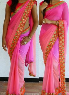 New Pink Georgette Designer Lace Work Saree With Blouse