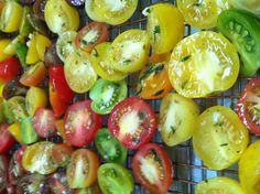 Beautiful colors of our heirloom tomatoes - ready for roasting for wedding this Saturday Heirloom Tomatoes, Shots, Vegetables, Colors, Wedding, Beautiful, Food, Valentines Day Weddings, Essen