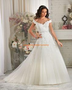 Bonny A-linie Schöne Glamouröse Brautkleider aus Softnetz mit Applikation