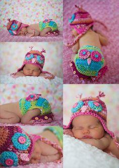 Newborn Baby girl Owl #crochet #uncinetto #neonato