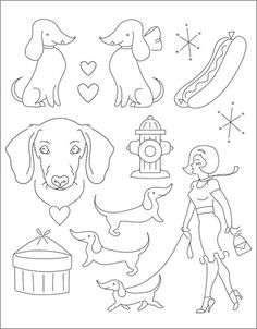 doxie embroidery patterns from Sublime Stitching. Possible outline