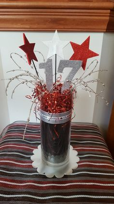 Grad party centerpiece glass vase red black silver and white Graduation Party Centerpieces, Graduation Party Planning, Graduation Decorations, Graduation Party Decor, Birthday Party Decorations, Black And White Party Decorations, Black And White Centerpieces, Silver Party Decorations, Red Birthday Party