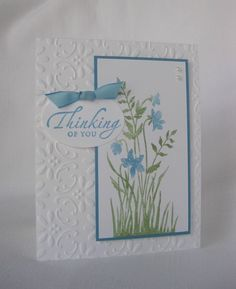 Embossed Thinking of You card by craftincrystal on Etsy, $2.75
