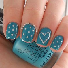 Turquoise nails. Polka dots and heart Nail art. Nail design. OPI Polish. Polishes. @lifeisbetterpolished