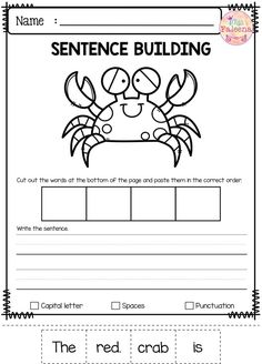 There are 10 pages of building writing worksheets in this product. These pages are great for pre-K, kindergarten and first grade students. These pages will teach children to read, write and build sentences. Children are encouraged to use thinking skills w Kindergarten Freebies, First Grade Freebies, Preschool Kindergarten, Classroom Activities, Writing Resources, School Resources, Writing Skills, Teacher Resources, Writing Worksheets