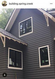 Benjamin Moore Kendal Charcoal Exterior paint / black windows with narrow white trim Exterior Paint Schemes, Best Exterior Paint, Exterior Paint Colors For House, Exterior Siding, Paint Colors For Home, Exterior Colors, Exterior Design, Building Exterior, Siding Colors For Houses
