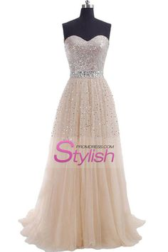2015 Sweetheart A Line Sweep Train Prom Dresses Tulle With Beads