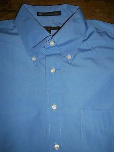 Tommy Hilfiger Mens L 16 1/2 34-35 Long Sleeve Button Front Shirt Pocket Cotton