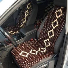 BLACK WOODEN BEAD BEADED CAR CHAIR MASSAGE FRONT SEAT CUSHION COVER FOR VW