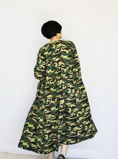 A Long Camouflage Jacket Camouflage Jacket, High Neck Dress, Cotton, Jackets, Dresses, Fashion, Turtleneck Dress, Down Jackets, Gowns