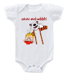 Cute Funny Custom Baby Bodysuits Creeper Calvin and Hobbes #2