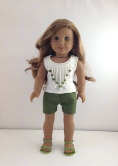 """18T Sweet & Sassy - Top, Shorts and Sandals for 18"""" dolls like American Girl Lea, Tenney, Grace, Isabelle, McKenna, Kit, Rebecca and Saige by MjsDollBoutique18T on Etsy"""