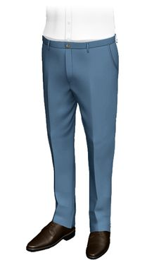 Design custom tailored Pants for men and get 2 weeks shipping. Unlimited personalization options and a wide range of high quality fabrics. Blue Pants, Khaki Pants, Formal Pants, Smart Styles, Slim Fit Pants, Tailored Trousers, Wool Pants, Mens Suits, Custom Shirts