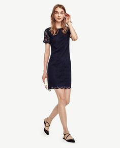 AnnTaylor Petite Mosaic Lace Shift Dress Navy - Perfect to dress up a work outfit for petite professional women's fashion! Pin now to save for style ideas later!