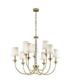 635 Kichler Rossington 9 Light Chandelier in Natural Brass 43545NBR #lightingnewyork #lny #lighting