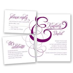 The word elegant best describes this stylish wedding invitation set. An oversize, filigree ampersand takes center stage, joining the bride and groom's names together. The invitation bundle comes as a set of three perforated pieces that includes an invitation, response and reception cards. Just separate the pieces, address the envelopes and send!   Product Details:    Bundle Size: Invitation: 7 3/4' x 5 1/2', Response Card: 4 7/8' x 3 1/2', Reception Card: 4 7/8' x 4 1/4'  Card Type:   Flat…