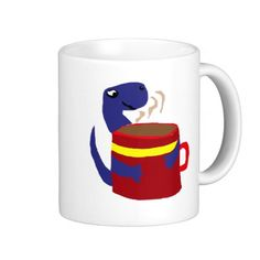 Blue Dinosaur Loves Coffee Coffee Mug #dinosaur #coffee #mug #funny And www.zazzle.com/naturesmiles*