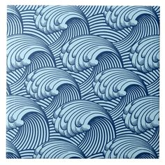 Tile in a vintage, stylized, Japanese wave pattern - soft sky blue, outlined and detailed in deep indigo / navy blue Size: Large X Color: blue/navy/sky. Zantangle Art, Japanese Waves, Photo Blue, Style Tile, Wave Pattern, Tile Art, Vector Pattern, White Ceramics, Ceramics Tile