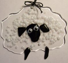 Fused glass sheep - Etsy thathesterchick