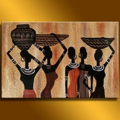 African paintings on canvas abstract women oil painting african oil paintings canvas Arte Tribal, Tribal Art, Art Pulp, African Art Paintings, Art Oil Paintings, African Drawings, African Artwork, Art Afro, Africa Painting