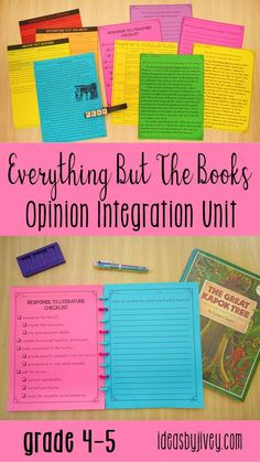 Everything But The Books Opinion Integration Unit for 4th and 5th grade provides you with complete writing, reading, and mentor sentence lesson plans - you'll also get the standards-aligned integrated activities, checklists, rubrics, additional readings, outlines, response to literature prompts, opinion prompts, and text-based opinion writing prompts; and all you need to get your hands on are the mentor texts! #mentortexts #4thgrade #5thgrade
