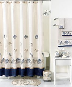 Avanti Bath Accessories Hampton Shells Shower Curtain Bed