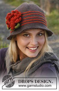 """Hæklet DROPS hat i """"Lima"""" med striber og blomster ~ DROPS Design"""