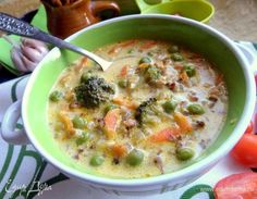 Гречневый суп «Сливочный» Russian Recipes, Cheeseburger Chowder, Food And Drink, Cooking Recipes, Lunch, Snacks, Dishes, Vegetables, Meal