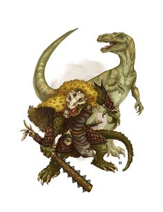 Lizardman Druid and Dino companion by butterfrog.deviantart.com on @DeviantArt