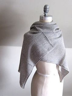 Ravelry: Aisé pattern by Espace Tricot. I love the beautiful simplicity of this shawl. Would look elegant over a dress and stylish with jeans. Shawl Patterns, Knitting Patterns Free, Free Knitting, Crochet Patterns, Knit Wrap Pattern, Knitted Shawls, Crochet Scarves, Knit Or Crochet, Crochet Shawl