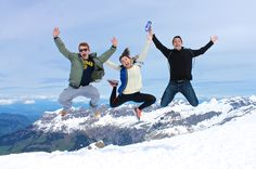 Students Jake Chmara, Anna Moshkovich and Sam Silverman upon seeing the view from Mount Titlis, Switzerland-- an abroad experience through the university's JRC program.