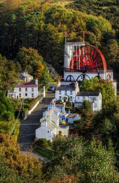 Laxey village and the water wheel Lady Isabella, Isle of Man