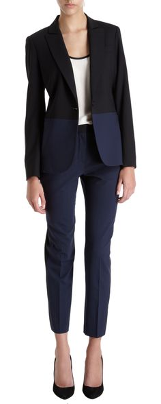 Barneys New York CO-OP colorblock blazer and matching skinny slacks