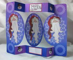 Card Gallery - Santa Portrait Oval Folded Pop Out Card