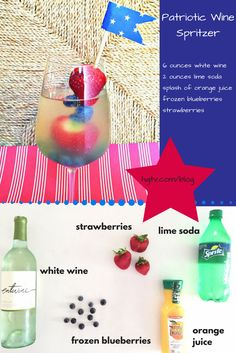 Make a red, white and blue wine spritzer with in-season berries: http://blog.hgtv.com/design/2015/07/04/hgtv-happy-hour-patriotic-wine-spritzer/?soc=Pinterest #HGTVHappyHour #FourthofJuly