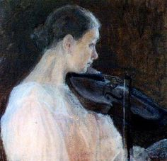 Viulunsoittajatar (The Violin Player) by Ellen Thesleff Finnish National Gallery. This painting depicts Thyra Thesleff, the youngest sister of the artist. Sphynx, Finnish Women, Female Painters, Nordic Art, Figure Painting, Art Music, Middle Ages, Figurative Art, Connect