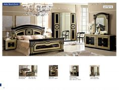 Black Gold Bedroom Finished in black, this wooden Luca Home Queen Bedroom Set showcases… - Classic Bedroom Furniture, Unique Furniture, Furniture Plans, Furniture Buyers, European Furniture, Furniture Dolly, Italian Furniture, Luxury Furniture, Queen Bedroom