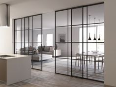 Home Room Design, Home Interior Design, Interior Modern, Glass Partition Designs, Glass Wall Design, Crittal Doors, Modern House Design, Modern Houses, House Rooms
