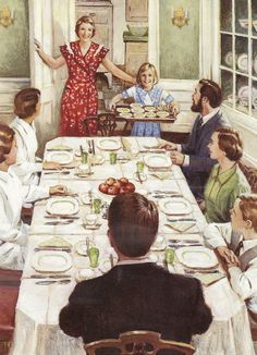 """American Girl Kit Kittredge is very proud of the dinner she helped cook for her boarders and family! From her book """"Kit Learns A Lesson""""."""