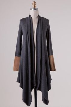 Suede Trim Sleeve Cardigan (Charcoal) - Ashe Couture, Inc