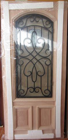 #9 2/3 LITE IRON GRILL MAHOGANY WOOD DOOR | ROBERT'S ELEGANT DOORS FRONT DOORS EXTERIOR WOOD DOORS PATIO DOORS DOUBLE DOORS TEXAS STAR DOORS AFFORDABLE PRICES IN HOUSTON TEXAS