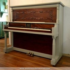 100 year old upright piano with refinished walnut veneer and gray painted frame - after 2 Furniture Logo, Diy Furniture Projects, Painting Furniture, Furniture Online, Upcycled Furniture, Refinish Piano, Upright Grand Piano, Spinet Piano, Painted Pianos